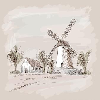 Plattelandslandschap met blokhuizen en een molen. potlood hand schets op een beige achtergrond.