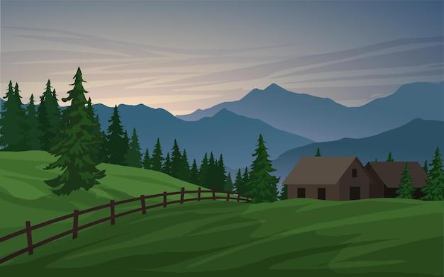Plattelandslandschap met boerderij en berg