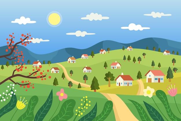 Plattelandslandschap met huizen