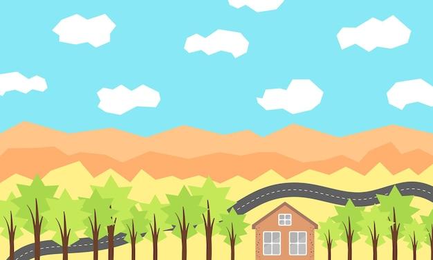Plattelandslandschap met veld en huis