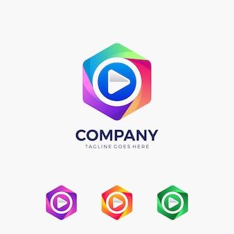 Play-knop logo ontwerpsjabloon. entertainment business, videobewerking, record, video-app, enz ..