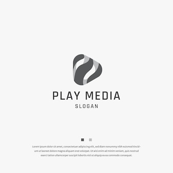 Play knop media tech logo pictogram ontwerp sjabloon platte vector