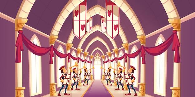 Plechtige trompettisten die maart-beeldverhaalillustratie spelen
