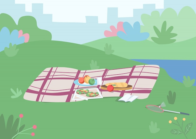 Plek voor illustratie van de picknickkleur. deken met eten erop om buiten te eten. plaats voor vrije tijd op grasheuvel. cartoon parklandschap met stadsgezicht en struiken op achtergrond