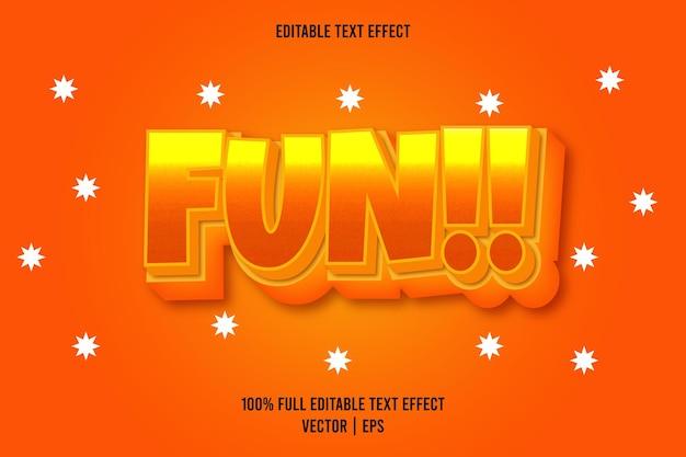 Plezier!! 3 dimensie bewerkbaar teksteffect oranje kleur