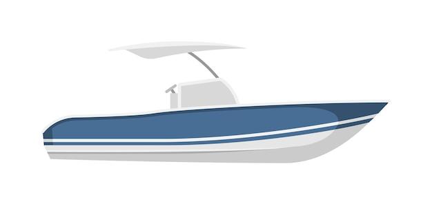 Plezierboot, motorboot of jachtschip dat op wit wordt geïsoleerd
