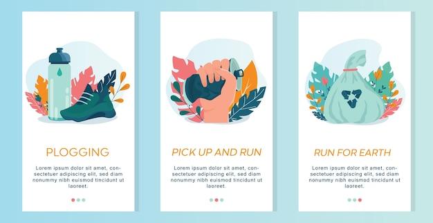 Plogging banner voor mobiele applicaties et. moderne ecotrend, plastic afval ophalen tijdens het joggen of hardlopen. eco-vriendelijk en gezond leven. Premium Vector