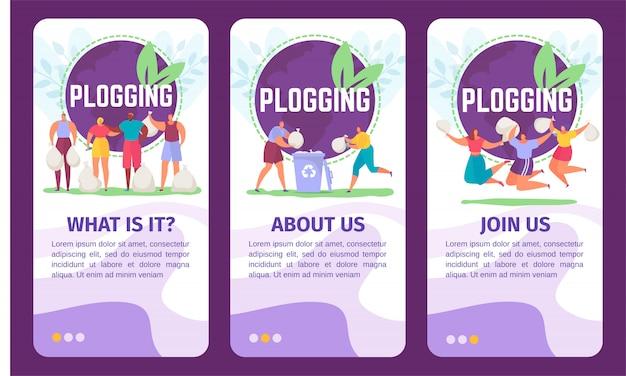 Plogging ecology banners set voor plogging illustratie van mensen die zwerfvuil oppakken en eco marathon lopen.