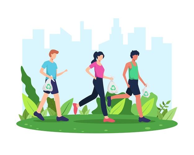 Plogging. rennen en schoonmaken, beweging ploegen of marathon. man en vrouw die zwerfvuil oppakken tijdens plogging in park of buiten. verzamel afval tijdens het hardlopen. in vlakke stijl