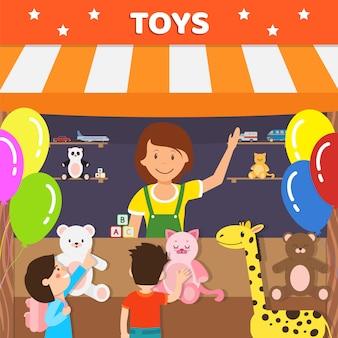 Pluche speelgoed verkoop bedrijf platte vectorillustratie