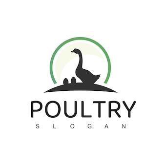 Pluimvee-logo met ganzensymbool