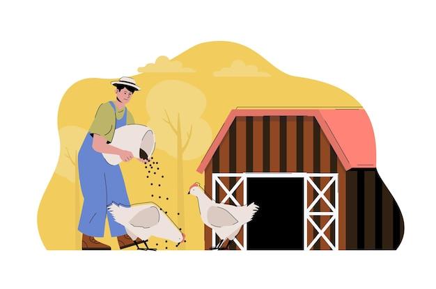 Pluimveehouderijconcept boer die kippen voert werkt op zijn boerderij