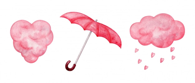 Pluizige roze wolken in hartvorm, hartvormige regen, rode paraplu. aquarel roze elementen