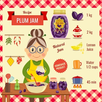 Plum jam recept flat design