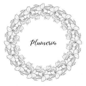 Plumeria bloemen tekenen en schetsen met lineaire kunst een krans van bloemen.