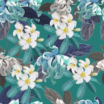 Plumeria en cananga bloemen naadloos patroon op paars