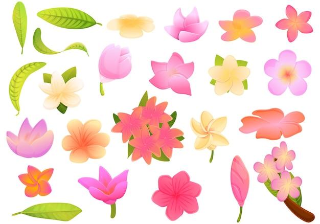 Plumeria pictogrammen instellen. cartoon set van plumeria iconen voor web