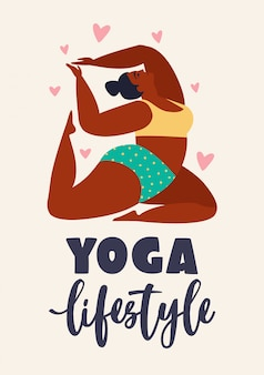 Plus size jonge vrouwen doen fitness, yoga, voorwaartse split. yoga levensstijl illustratie.
