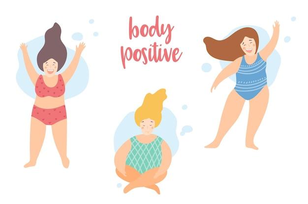 Plus size meisjes dragen zwemkleding body positive quote vrouwen op het strand vector vlakke stijl