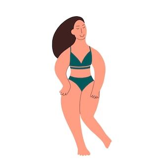 Plus size model in ondergoed. een meisje met een ronde vorm pronkt met haar lichaam. lichaam positief