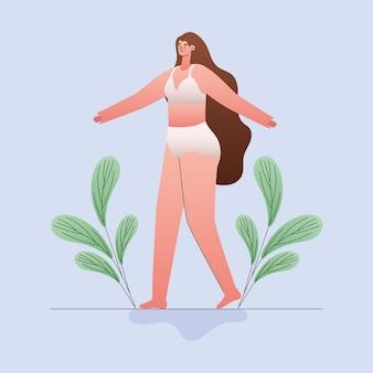 Plus-size vrouw cartoon in ondergoed met bladeren ontwerp, liefde en zorg voor jezelf thema