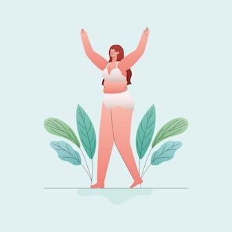 Plus-size vrouw cartoon in ondergoed met handen omhoog en bladeren ontwerp, liefde en zorg jezelf thema