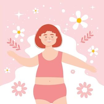 Plus size vrouw met rood haar in ondergoed