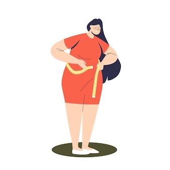 Plus size vrouw model taille te meten met meetlint. schattig bochtige vrouwelijke stripfiguur werkzaam in de modellering en mode-industrie