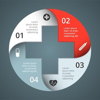 Plusteken infographic sjabloon medische gezondheidszorg presentatie gezondheidssymbool ziekenhuis logo