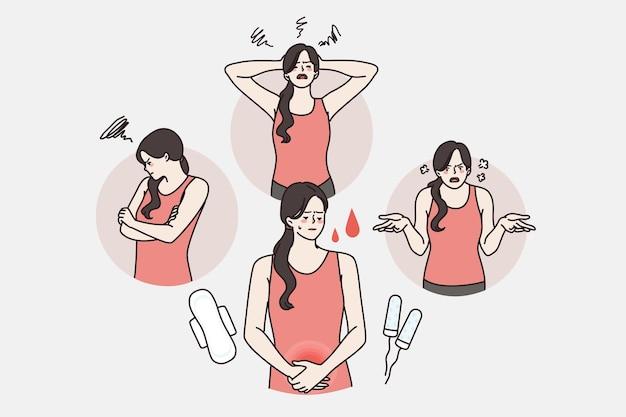 Pms en stemming vóór menstruatieconcept. jonge geïrriteerde vrouw stripfiguur depressief boos en pijn in de buik tijdens perioden vectorillustratie