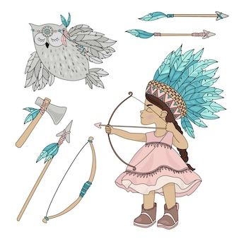 Pocahontas owl american indian girl