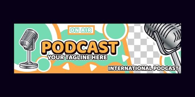 Podcast achtergrondbanner met logo's