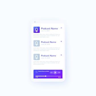 Podcast-app en mobiel ui-ontwerp voor spelers