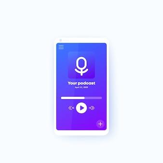 Podcast-app in mobiel ui-ontwerp voor telefoons