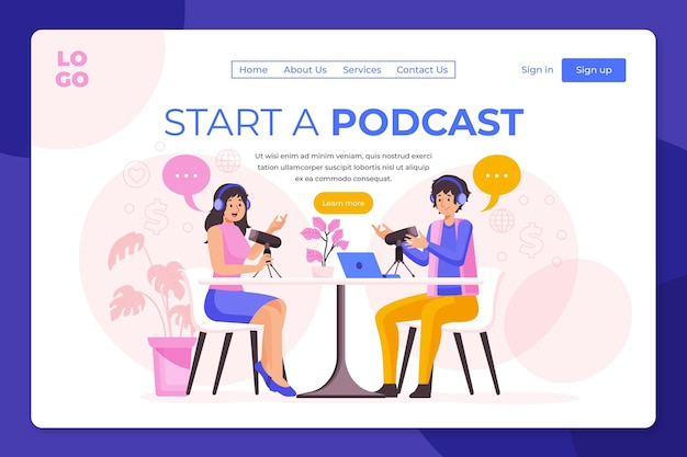 Podcast-bestemmingspagina illustratie