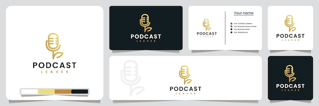 Podcast-bladeren, met lijnstijl en gouden kleur, inspiratie voor logo-ontwerp