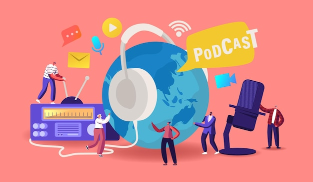 Podcast, comic talks of audio programma online broadcasting concept. kleine mannelijke, vrouwelijke personages met microfoon, radio en headset bij earth globe, audio livestream. cartoon mensen vectorillustratie