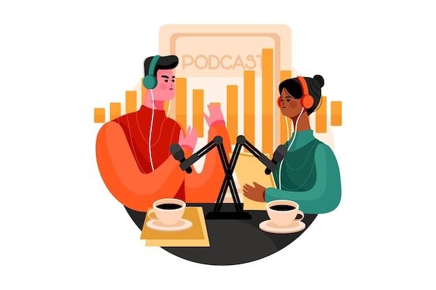 Podcast community illustratie