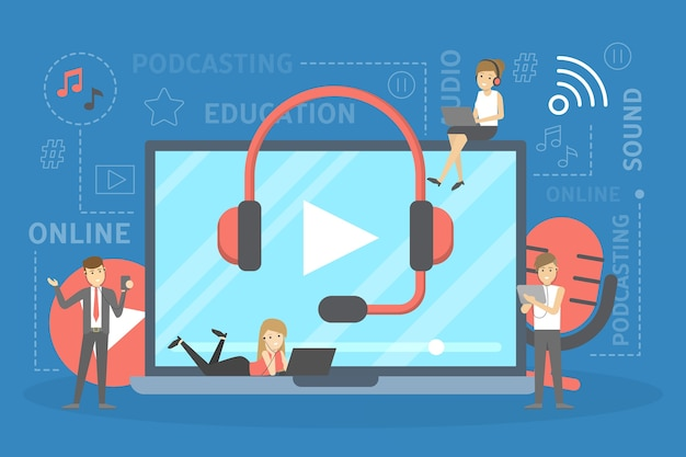 Podcast concept. idee van podcasting studio en mensen in hoofdtelefoon chatten met microfoon en record. radio of digitale media. illustratie