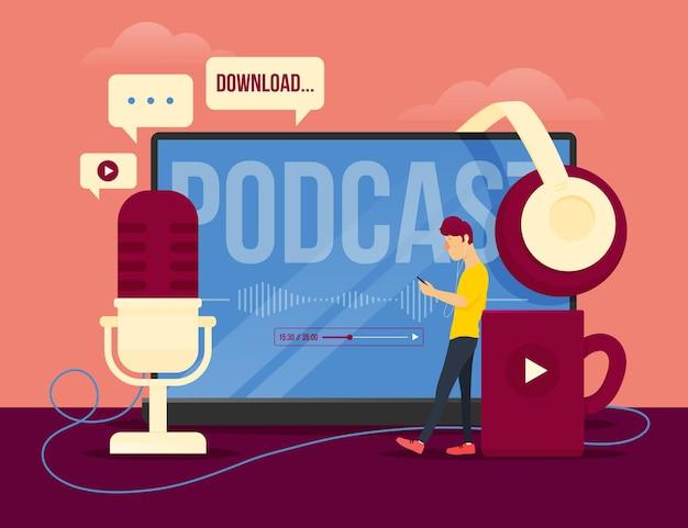 Podcast concept illustratie concept