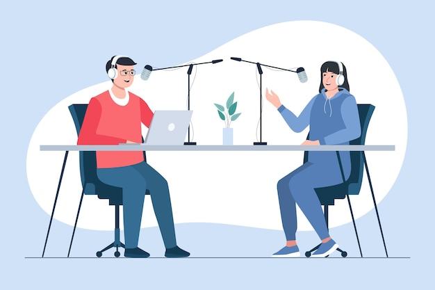 Podcast concept illustratie