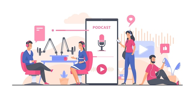 Podcast-concept. mensen die audiopodcast opnemen en beluisteren