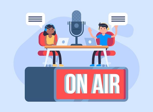 Podcast concept op lucht illustratie