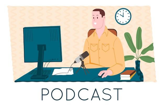 Podcast-concept. podcasting cartoon afbeelding. podcaster die in microfoon spreekt en audiopodcast of online show opneemt. radiopresentator zendt uit op de radio. platte vectorillustratie.
