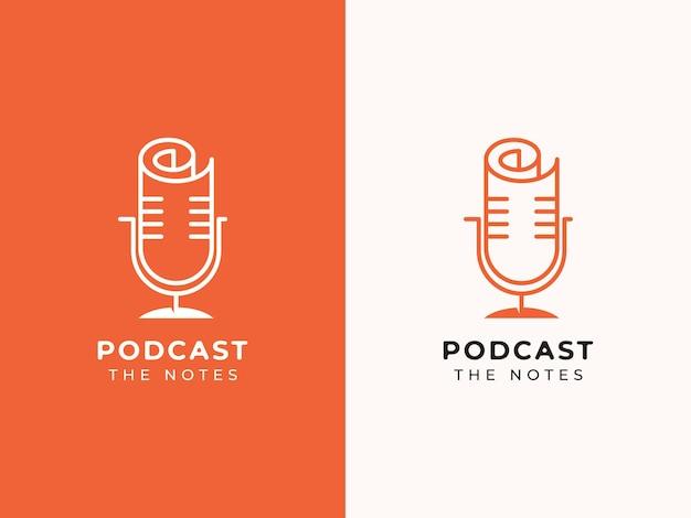 Podcast en notities logo ontwerpconcept