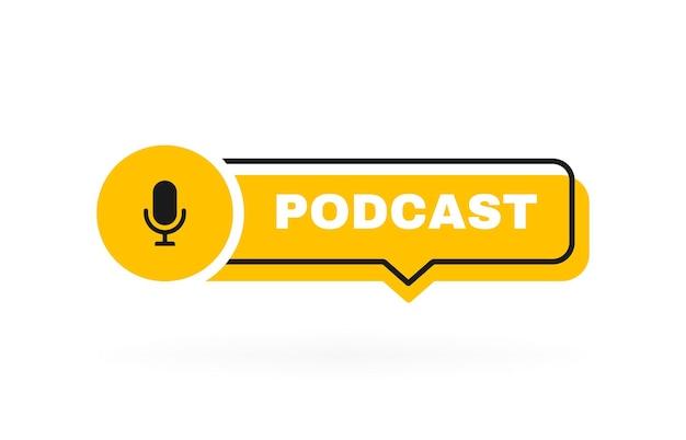 Podcast geometrische badge met microfoon.