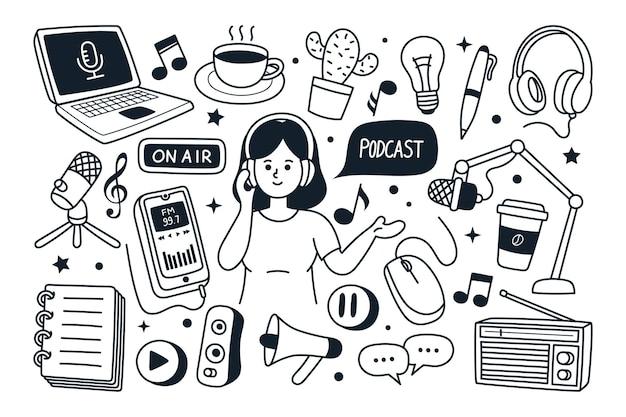 Podcast hand getrokken doodle vectorillustratie