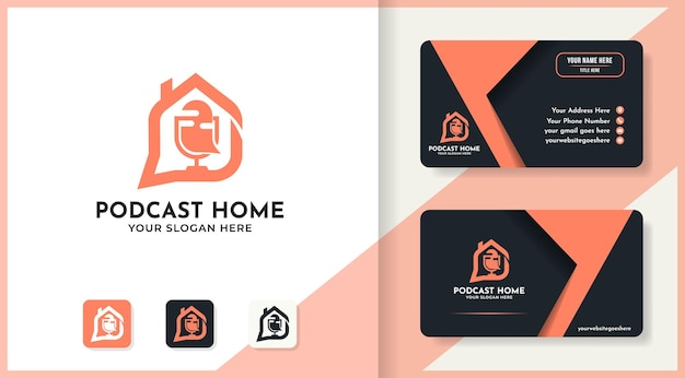 Podcast huis logo ontwerp en visitekaartje