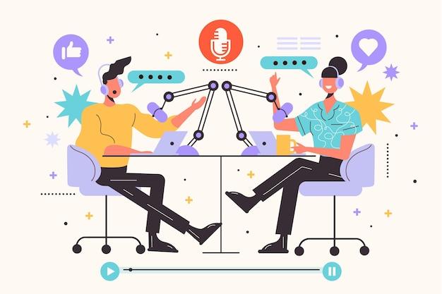 Podcast in de ether met personages die een gesprek voeren