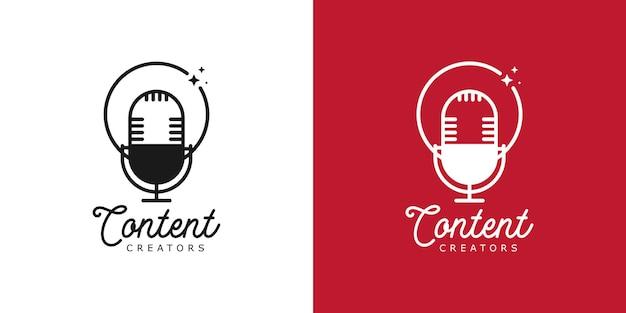 Podcast inhoud makers logo concept mic vectorillustraties